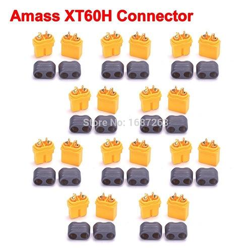 """10 пар XT30 XT30U XT60 XT60H XT90 EC2 EC3 EC5 T разъем батареи набор мужской женский Позолоченный разъем типа """"банан"""" для RC частей - Цвет: 10pairs Amass XT60H"""