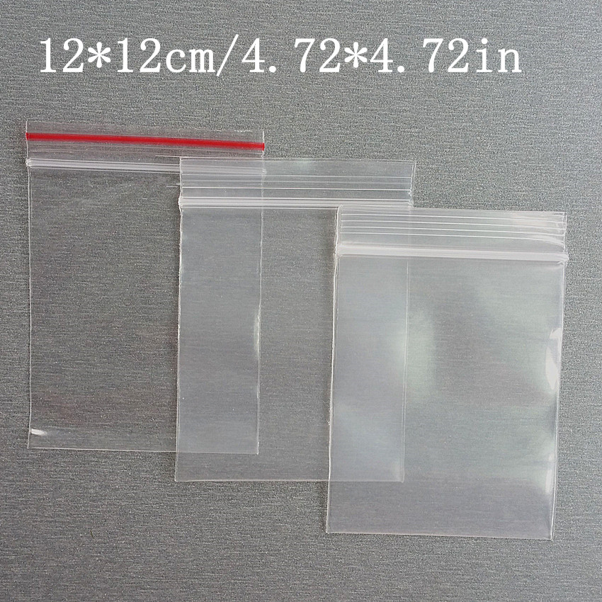 2 Kinds Thick 12x12cm Self Sealing Zipper Ziplock Plastic Package Reclosable Clip Chain Grocery Packaging Packing Bags 1000pcs