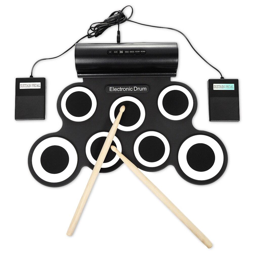 Portable main rouleau Silicone électronique tambour enfants apprentissage Musical jouet tambour éducatif Instrument d'éclairage Musical