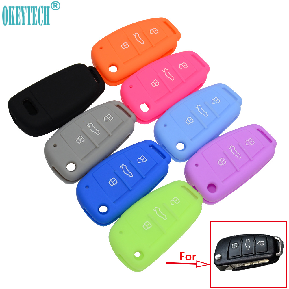 OkeyTech New Silicone Car Key Fob Cover Case Skin 3 Buttons For Audi A1 A2 A3 A4 A5 A6 A7 TT Q3 Q5 Flip Folding Remote Protected