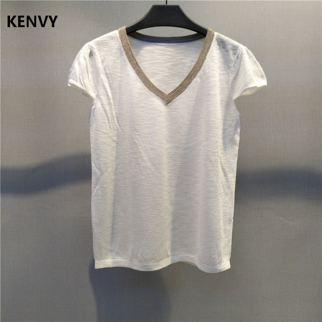 8bda05e2 KENVY Brand Fashion Women High-end Luxury Trimmed Tamie Short-sleeved  Transparent Perspective V-neck linen T-shirt Top Tees