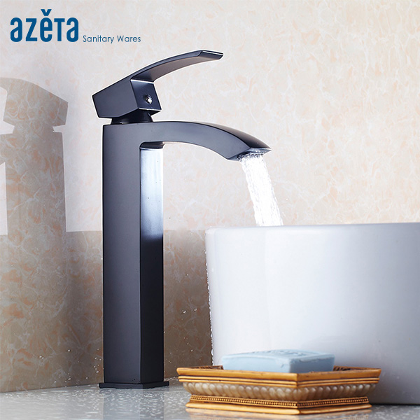 Azeta Bathroom Faucet Washbasin Sink Tap Black Brass High Basin Faucet Bathroom Single Handle Mixer Tap