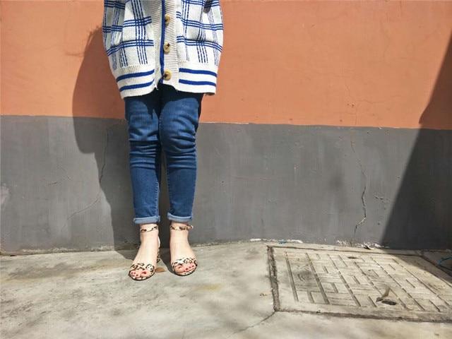 2019 Ankle Strap Heels Leopard Print Women Sandals Summer Shoes Women Open Toe Chunky High Heels Party Dress Sandals Women Pumps