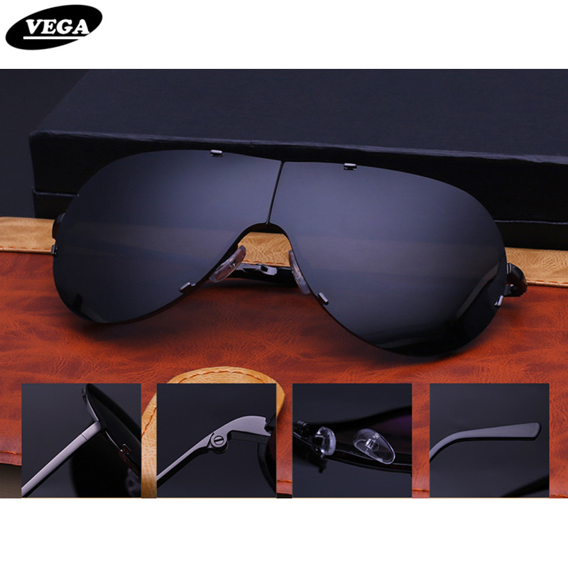 VEGA Lager Folding Sunglasses Men Women Oversize Frameless Sunglasses Foldable Glasses Big Moto Goggles 8487