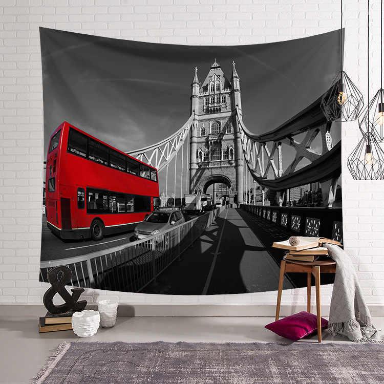 CAMMITEVER Vintage London Building Bridge piętrowy autobus gobelin Home dekoracje ścienne wiszące gobeliny do sypialni w akademiku