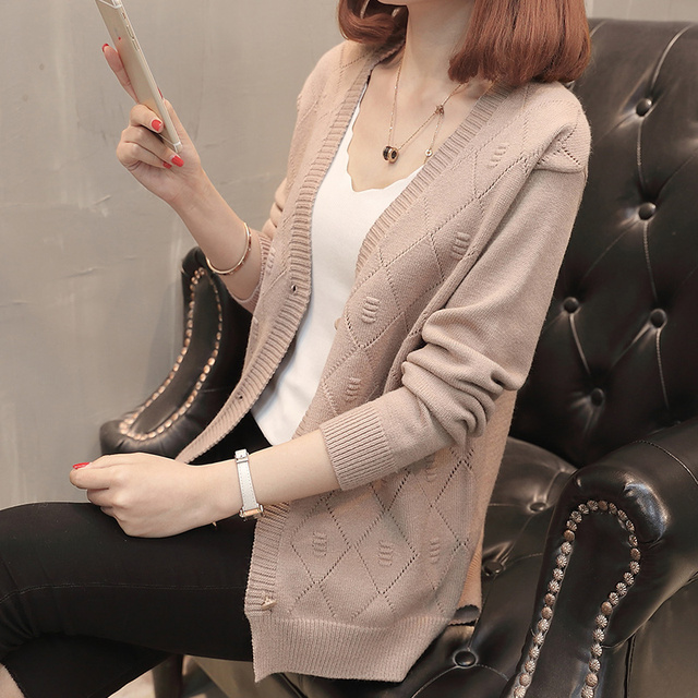 Autumn and Winter New Women Long Sleeve V-Neck Solid Single Breasted Down Knit Cardigans Sweater Coats Loose Slim Women Sweater