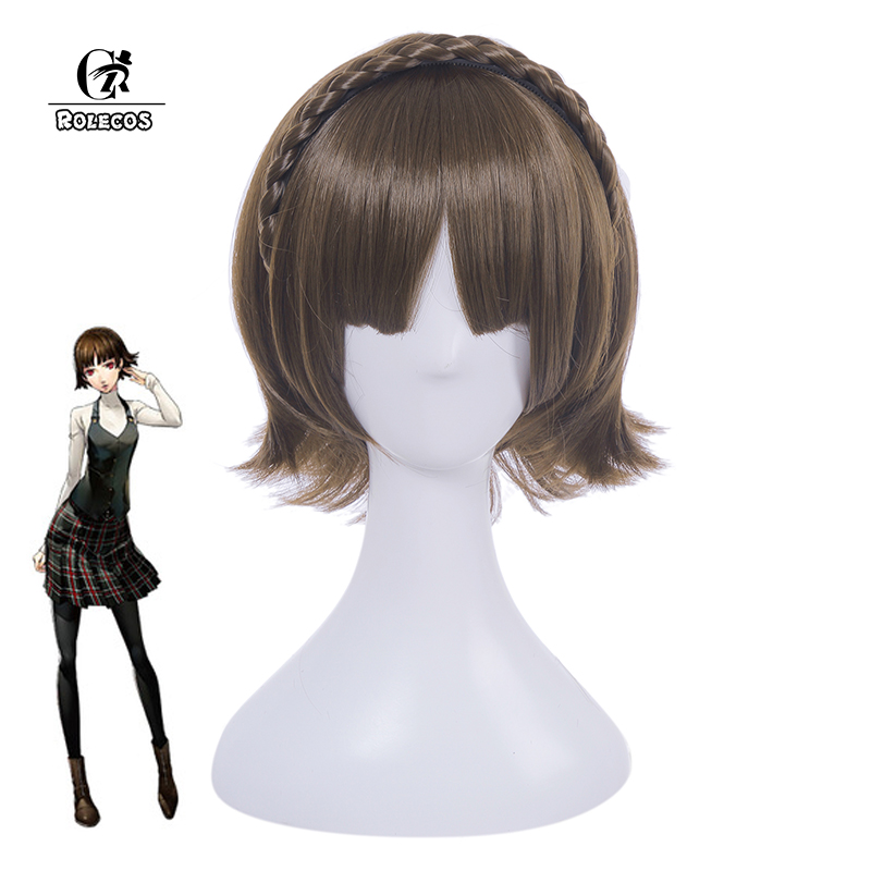 ROLECOS Persona 5 the Animation Cosplay Makoto Niijima Cosplay 30cm/11.81 inches Cosplay Hair Accessories Synthetic Hair