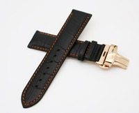 18 20 22mm Man Lady Genuine Leather Handmade Black Orange Stitches Watch Band Strap Belt Rose