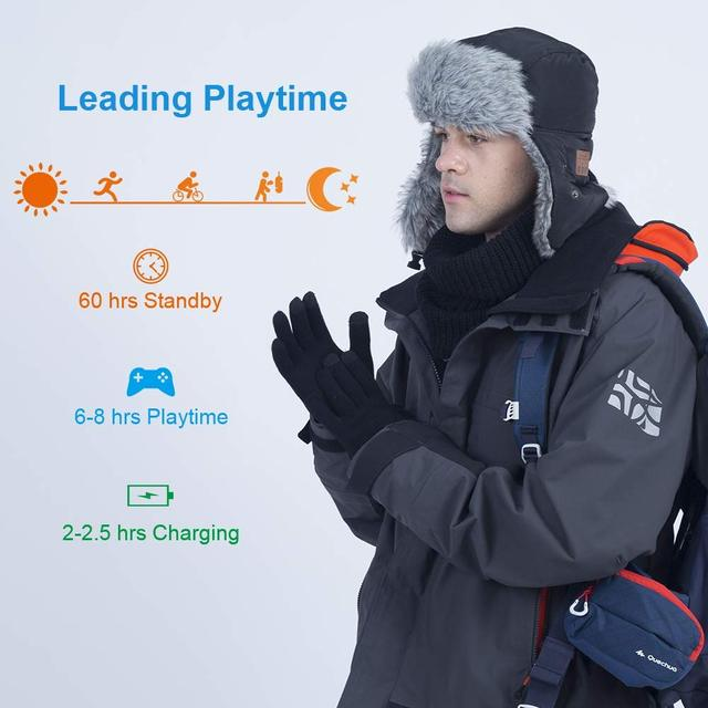 Bluetooth Wireless Headphones Hunting Hat, Trapper Cap Built-in HD Stereo Speaker & Microphone Winter Fitness Outdoor Sports
