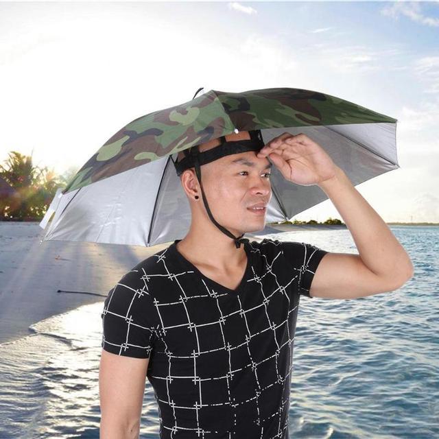7e258de019b Portable Rain Umbrella Hat Foldable Outdoor Sports SunShade Waterproof  Camping Hiking Fishing Headwear Cap Beach Head Hats