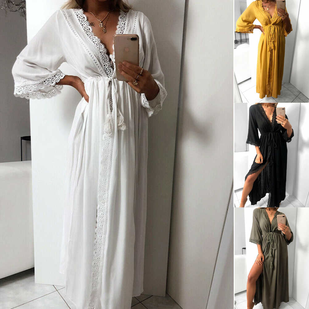 New Fashion Women Summer Nightwear Solid Three Quarter Sleeve Top Long Maxi Sleepwear Dress Beach Bikini Cover Up