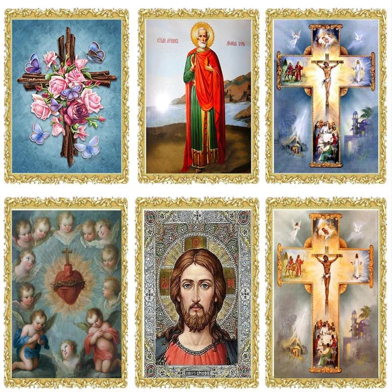 2018 nouveau pleine impression diamant peinture point de croix religion Jésus icône BRICOLAGE 5D diamant broderie mosaïque 3D perle ensembles fc541