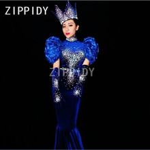 Sparkly Rhinestones Big Pearl Blue Dress Sexy Long Tail Canonicals Nightclub Prom Women's Birthday Female Singer Show Stage Wear