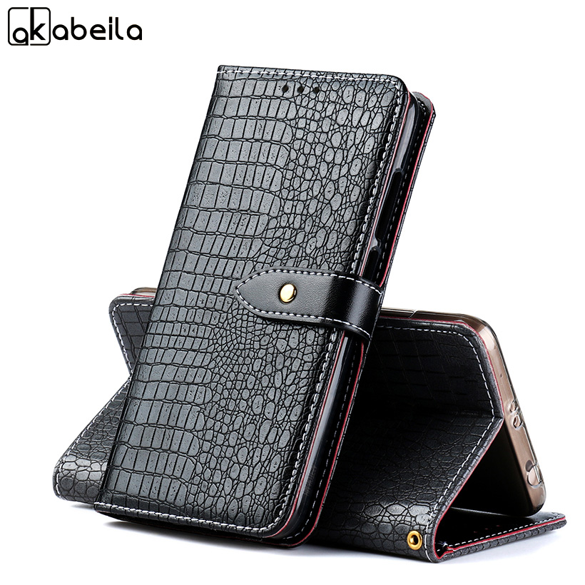AKABEILA Luxury Crocodile Leather Cases For Vernee Thor E 5.0 inch Cover Flip Case For Vernee Thor E Cover Housing