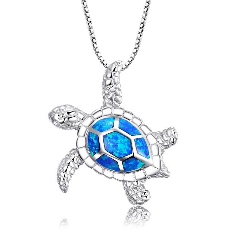 1Pc Silver Filled Blue Opal Sea Turtle Cutout Pendant Women Beauty Necklace