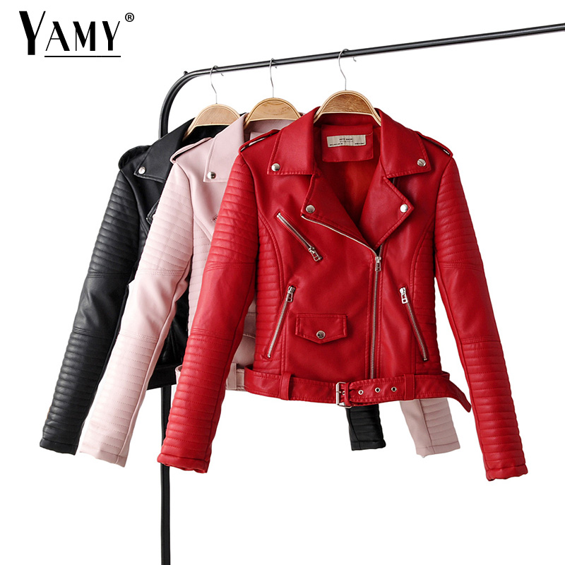 Red   leather   jacket women long sleeve zipper pink biker jacket modis black coat streetwear korean womens clothes fall 2019