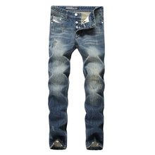 Famous Dsel Brand Fashion Designer Jeans Men Straight Blue Color Printed Mens Jeans Ripped Jeans,100% Cotton
