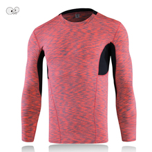 Men Bodybuilding Fitness Compression Shirts Base Layer Colorful Dyed Long Sleeve Running Tops Skin Tight MMA Rashguard T-Shirt