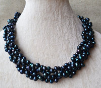 100% Real Pearl Necklace,Black Color 6 7mm 18 Inches Potato Shape Freshwater Pearl Necklace