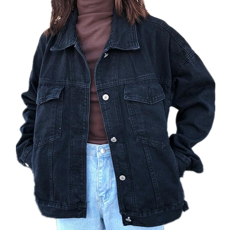 2019 Women Basic Coats Spring Denim Jacket Vintage Long Sleeve Jeans Jackets Slim Female Coat Casual Girls Outwear Tops Cotton