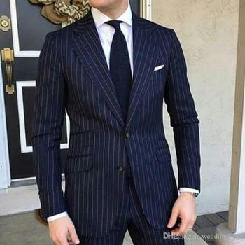 High Quality Two Buttons Navy Blue Strips Groom Tuxedos Notch Lapel Groomsmen Mens Suits Blazers (Jacket+Pants+Tie) W:759