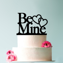 Be Mine with Hearts Wedding Cake Topper, Romantic Valentines Day Elegant Topper