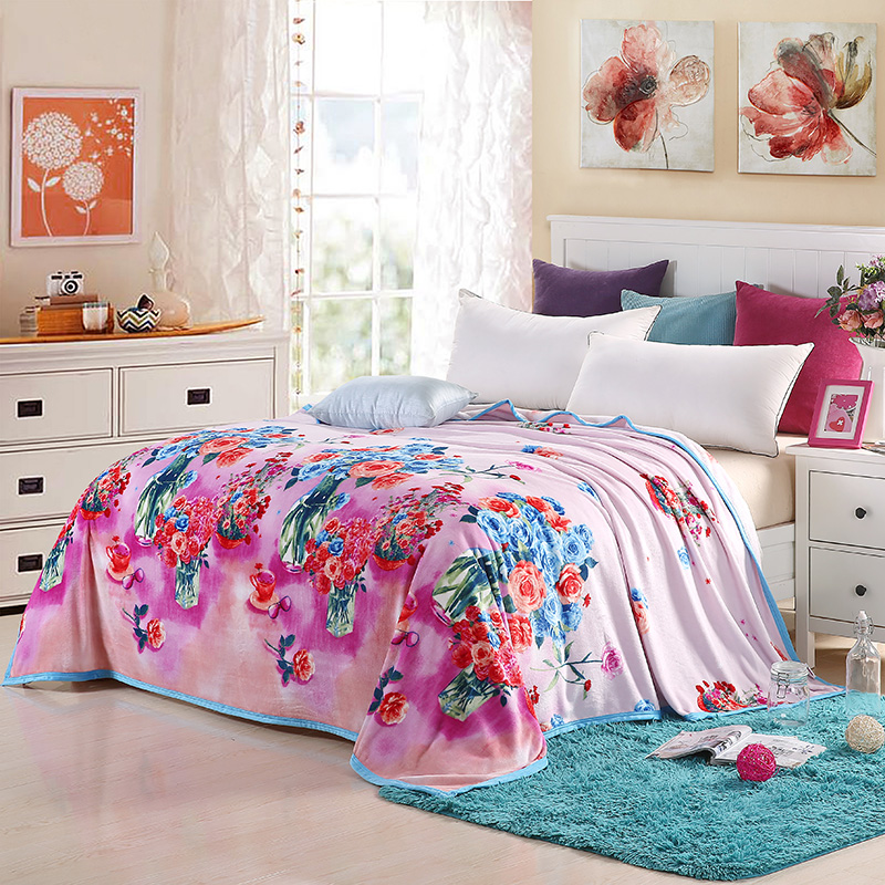 New 2016 floral blanket on the bed coral fleece sofa throw for Blankets king size bed