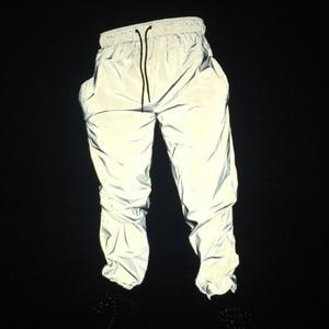 Image 1 - 최신 남성 힙합 바지 나이트 조깅 반사 streetwear 바지 남성 캐주얼 운동복 pantalones hombre 플러스 크기 3xl