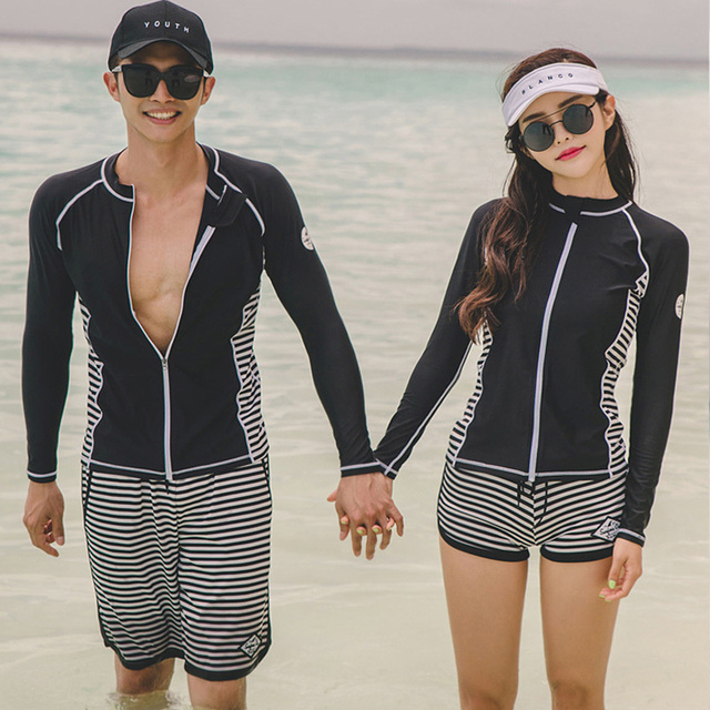 13105216ca His-and-her Swimsuits matching outfits front zipper long sleeve Top&striped  Bottom Beachwear Bathing suit