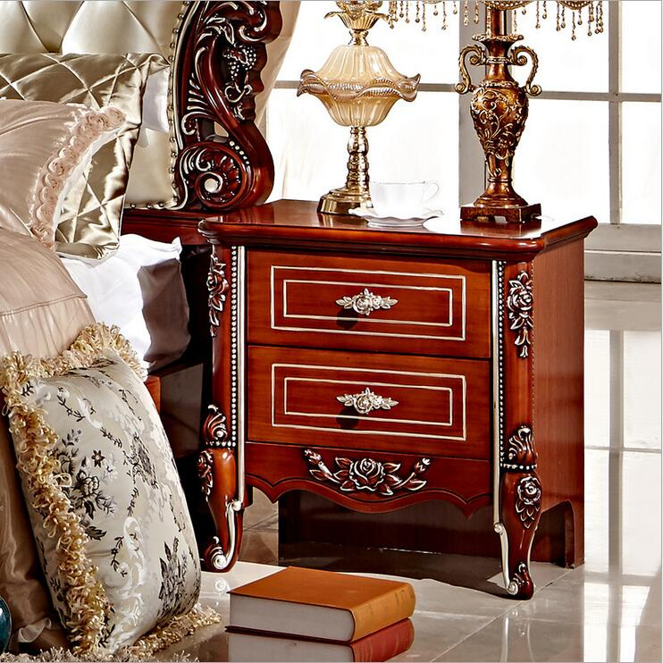 High Quality Bed Fashion European French Carved Bed Nightstands Pfy4001