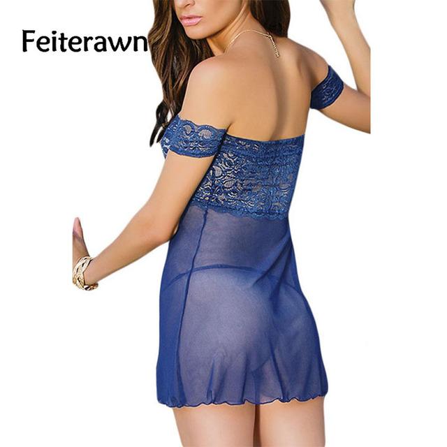 Feiterawn  Scalloped Lace Babydoll Off-shoulder Erotic lingerie Hot Sleepwear G-String Set Plus Size DL31024