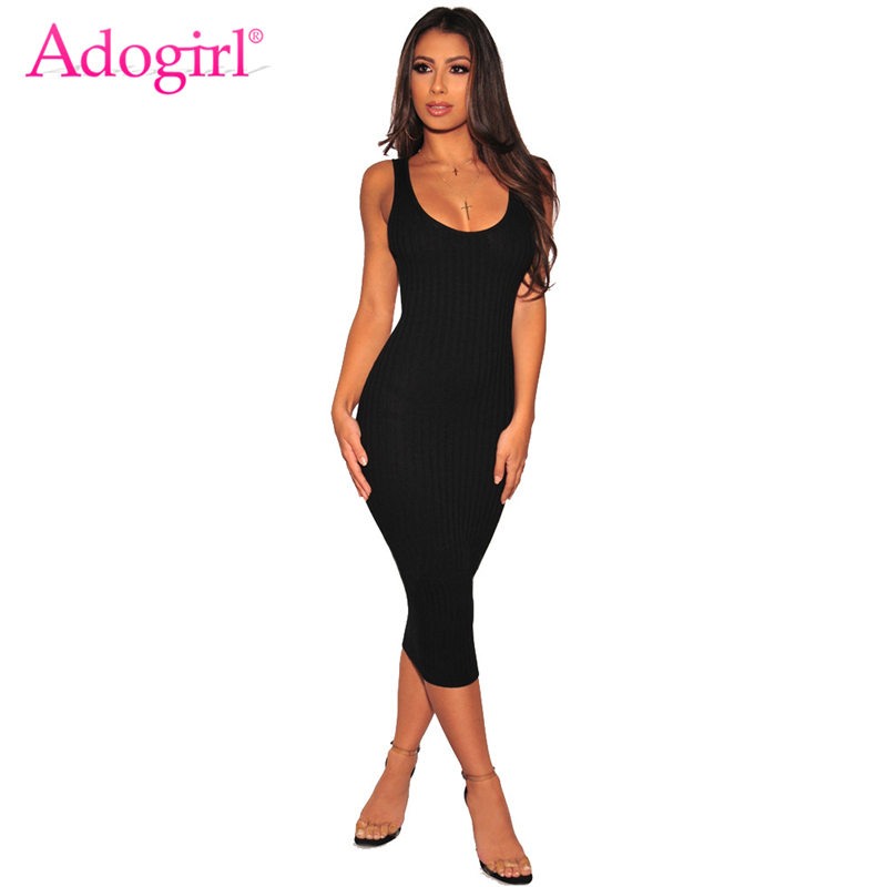 95d7974e976 Adogirl Solid Ribbed Tank Dress for Women O Neck Sleeveless Bodycon Midi  Club Party Dresses Casual
