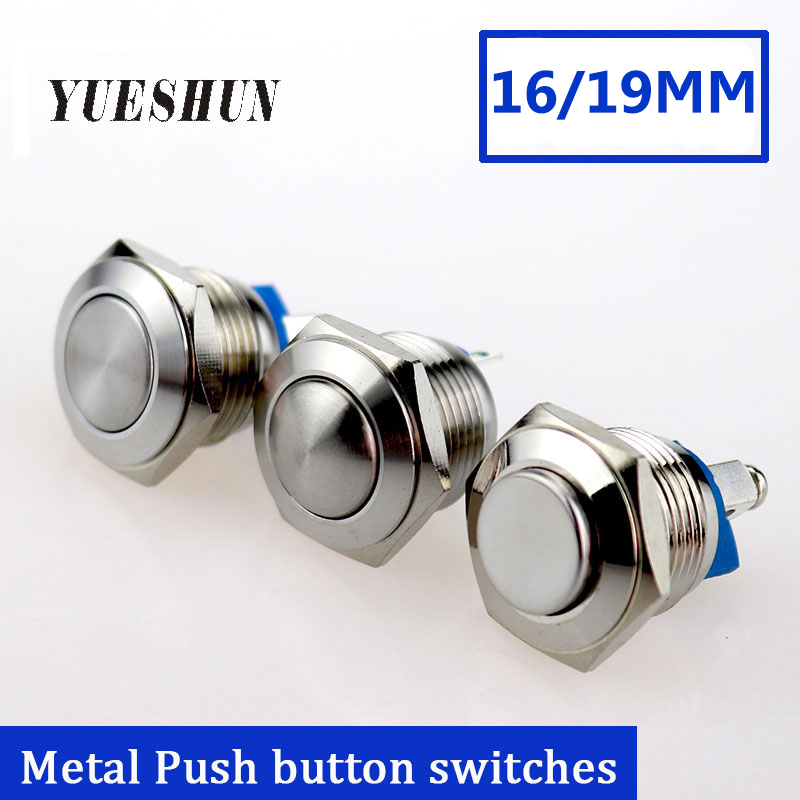 16mm 19mm Metal Push Button Switch Waterproof Stainless Steel Press Button Round Shape Power Switch 2A/36V Momentary Push Button