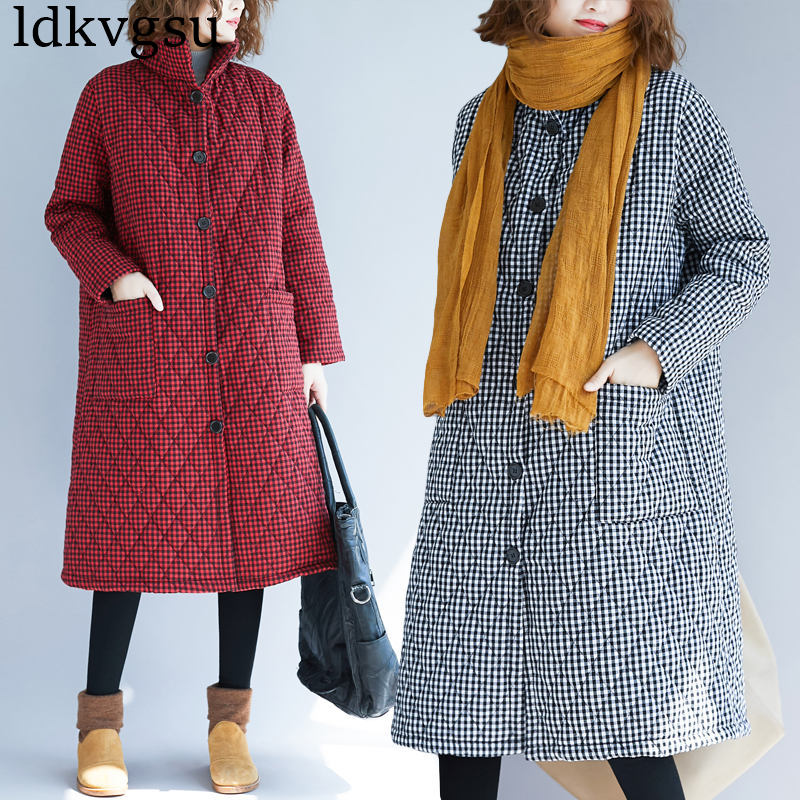 2018 New Fashion Thick Plaid Cotton Jackets Autumn Winter Coats Large Size Women's Long paragraph Warm Long-sleeved   Parkas   V142