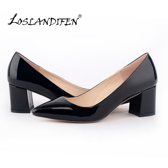 2d7bd77855193 LOSLANDIFEN New High Heel Shoes Thick Square Heel Ladies Office Black Pumps  Low Heel Casual Leather Boat Shoes for Women0689-1PA