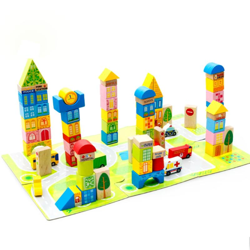 100pcs/set Cartoon City Traffic Wooden Building Blocks DIY Creative Kids Wood Bricks Children Early Educational Toys Gift 32 pcs setcolor changed diy jigsaw toys wooden children educational toys baby play tive junior tangram learning set