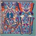 130 см * 130 см Бабочка волновой точки геометрический узор шелка саржевого шарф женщин люксовый бренд 2017 женщин платок bufandas A143