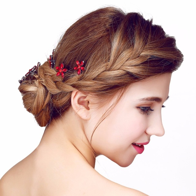 New Style 6Pcs Lot Wedding Bridal Hair Pins Red Zircon Crystal Flower Stick Hairpin Woman U Clips Jewelry