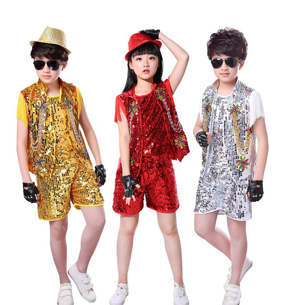 3 Pieces Kid Sequins Hip Hop dance Clothing Boys Stage Drum Jazz Dancewear Costumes Adult Ballroom Dancing Clothes Outfits