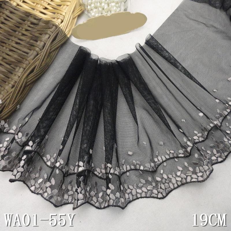 13 yard 19cm vyšívané krajky tkanina výšivka voile krajka Guipure lemování nášivka Dentelle šicí příslušenství černá AC0962