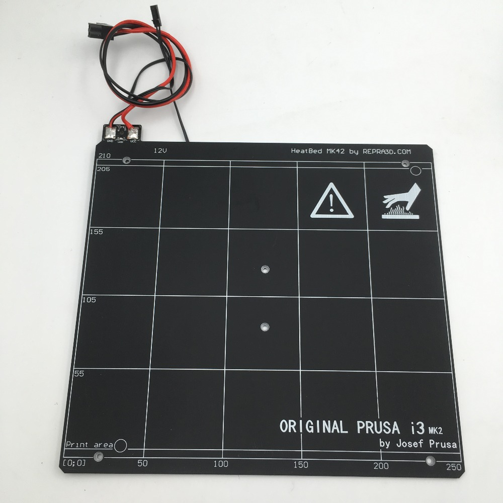 Original Prusa i3 mk2 3d printer PCB heated bed with PEI tape Cloned heated bed for prusa i3 mk2 mk2s 3d printer heated bed with pei tape aluminum alloy clone compatible with mini rambo 1 3a