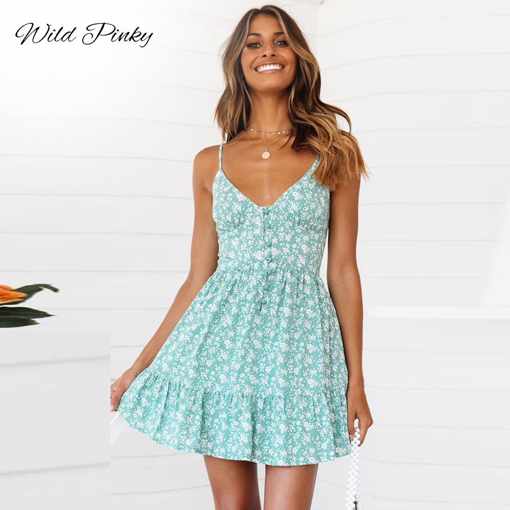 WildPinky Sexy V-neck Women Dress Strap Floral Print Summer Dress Vintage Button Mini Dress Ruffled Ladies Party Dress Vestidos