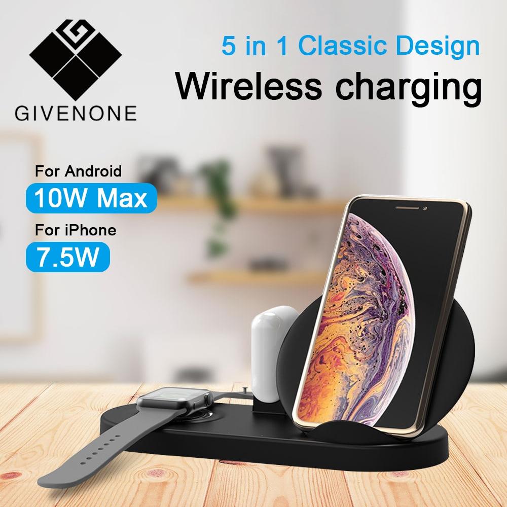 GIVENONE 5 in1 Qi chargeur rapide sans fil support de téléphone pour samsung pour iPhone 8 XR AirPods Apple Watch 4 3 2 support de dock iPad