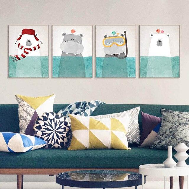Set of 4 nursery decor Cartoon Wall Art Picture extra Cute Kids Room ...