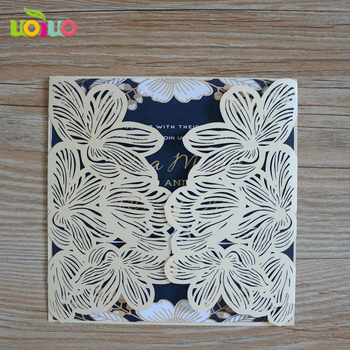 Nice elegant ivory pearl paper folded flower wedding invitation cards with cheap price for bride groom happy wedding decor