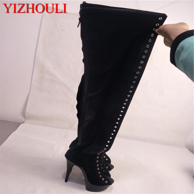 15cm high heel formal dress thigh high boots ultra high heels 6 inch platform side of the bandage women over-the-knee long boots high waist bandage long sleeve dress
