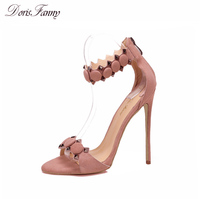 DorisFanny wildleder Mode Schuhe Frauen Sandalen Sommer Offene spitze Ankle Strap sexy High Heels Rosa schwarz Damen Schuhe größe 9