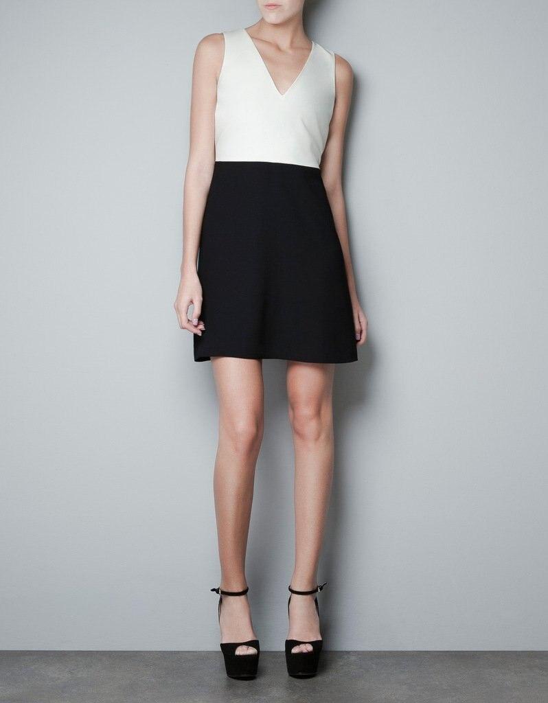 Color Block Dress Black White Patchwork Ladies Brand Tank ...