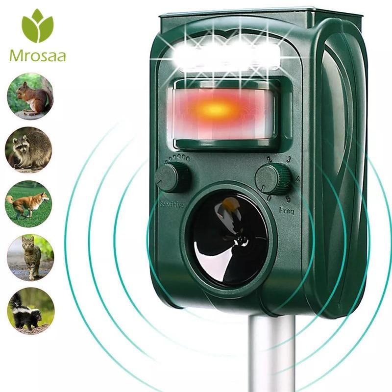 Garden Solar Powered Ultras Onic Outdoor Animal Repeller Motion Sensor Flash Light Dog Cat Raccoon Rabbit Animal Dispeller