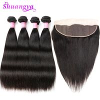 Malaysian Straight Hair Lace Frontal Closure With Bundles 100% Human Hair 3/4 Bundles With Frontal Shuangya Remy Hair Weaves